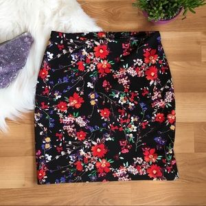 Express black and red floral mini skirt